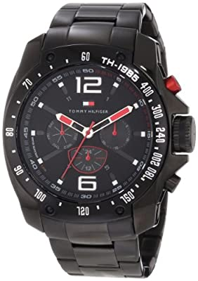 Tommy Hilfiger Mens 1790870 Sport Black Ion-plated Black Bezel Multi-function Bracelet Watch