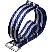 NATO G10 Nylon Military Watch Strap by ZULUDIVER, Satin, Blue and White, 20mm