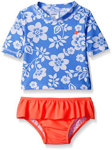 Carter 39 s baby short sleeve floral rash guard set blue 24 for Baby rash guard shirt