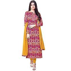 Shelina Women Pink Cotton Printed Salwar Suit