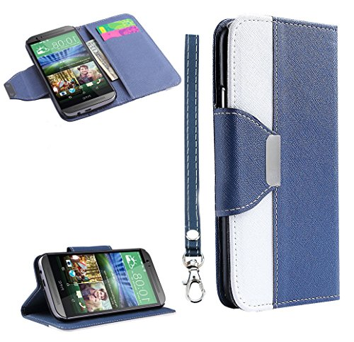 Mylife (Tm) Cornflower Blue + White {Modern Design} Faux Leather (Card, Cash And Id Holder + Magnetic Closing) Slim Wallet For The All-New Htc One M8 Android Smartphone - Aka, 2Nd Gen Htc One (External Textured Synthetic Leather With Magnetic Clip + Inter