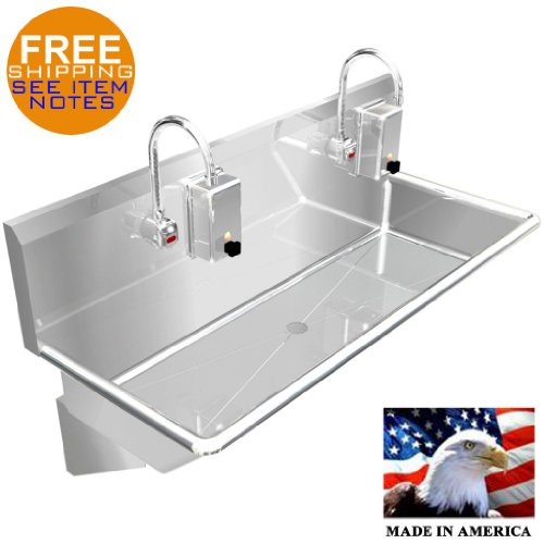 """Wash Up Hand Sink 2 Users Multistation 48"""" Elec Faucet Made In Usa Stainless St."""