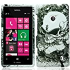 For T-Mobile Nokia Lumia 521 Windows Phone 8 Hard Snap-on Case Silver Skull