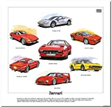 Classic Ferrari 1970s & 1980s --- Dino 246GT, 512BBi, 288GTO, 308, 365GTB/4 Daytona & F40. Ready to frame.