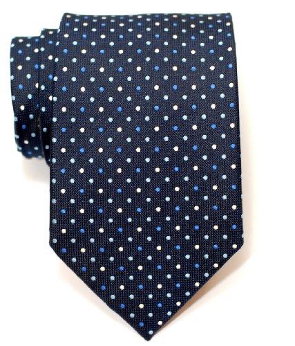 Premium Vintage Three-Colour Polka Dots Woven Men's Tie - Navy Blue