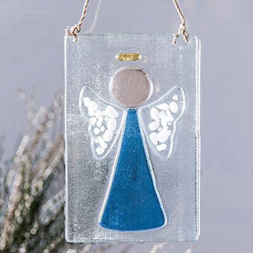 Blue Fused Glass Angel Christmas Ornament Window Suncatcher