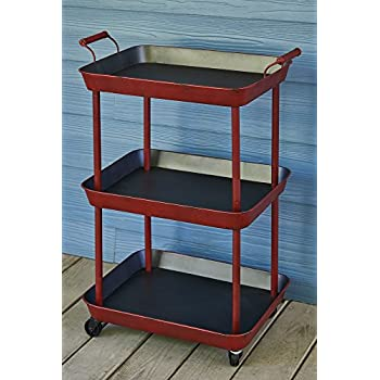 Vintage Red Serving Cart - Great for Bar or Kitchen Storage