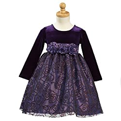 Lito Purple Velvet Tulle Flocked Flower Girl Christmas Dress 2T