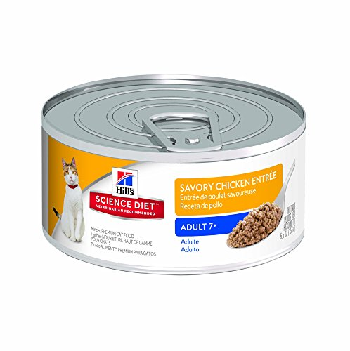 Hill's Science Diet Adult 7+ Savory Chicken Entree Minced Cat Food, 5.5-Ounce Can, 24-Pack (Hills Canned Cat Food compare prices)
