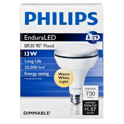 Philips 420554 13-Watt Br30 Led Indoor Flood Light Bulb, Dimmable
