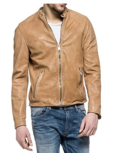 REPLAY Biker Style In Pelle Giacca Tan XXL