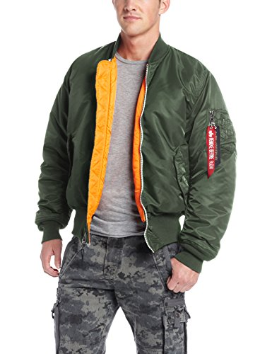 Alpha Industries Men`s Ma-1 Flight Jacket,Sage Green,Large