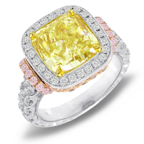 6.70ct 18k Two-tone Rose Gold EGL Certified Cushion Cut Natural Fancy Yellow Diamond Ring