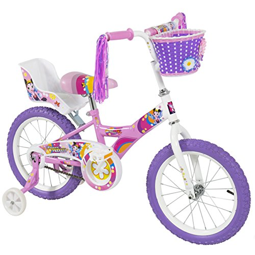 BCP-16-Girls-Flower-Princess-Bike-W-Training-Wheels-Basket-Kids-Bicycles