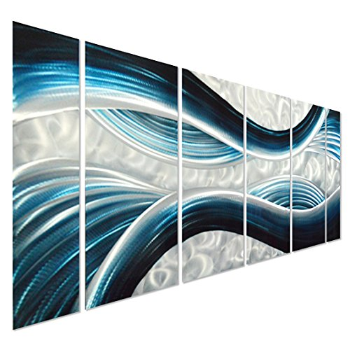 Blue Desire Large Metal Wall Art - Large Modern Contemporary Sculpture - Set of 6 Panels 24