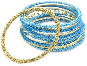 Helene Jewelry Turquoise-Color Crochet Bangle Set