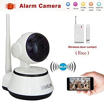 BESTOFFER4U 1MW15 Smart Home Security System with Door/window Sensor and Smart Remote Control Wireless Ip Camera Hd 720p Pan Tilt Night Vision Two Way Audio Motion Dectection Notification Email Alert Video Recording to Sd Card Remote View Via Smartphone/t
