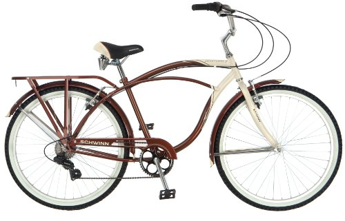 Schwinn Men`s Sanctuary 7-Speed Cruiser Bicycle (26-Inch Wheels), Cream/Copper, 18 -Inch