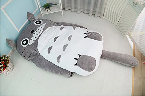 cute-cartoon-totoro-double-bed-sleeping-bag-pad-sofa-bed-mattress-for-kids-or-adult-787in7086in-grey
