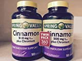 Spring Valley - Cinnamon 500mg Plus Chromium, Twin Pack, 2 Bottles of 180 Capsules