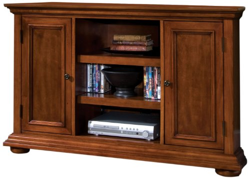 Home Styles Homestead Corner Entertainment TV Stand in Distressed Warm Oak Finish