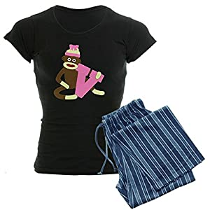CafePress Sock Monkey Monogram Girl V Women's Dark Pajamas Women's Dark Pajamas