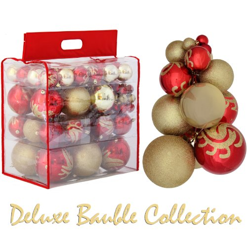Extra Value 96 Piece Red and Gold Deluxe Christmas Tree Decoration Pack complete with PVC Storage Carry Case