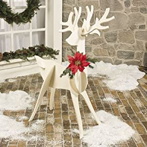Large wooden slotted reindeer freestanding for Outdoor reindeer decorations