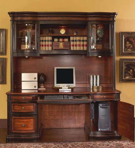 Buy Low Price Comfortable Home Office Computer Desk with Hutch in Two Tone Warm Brown Finish (B001DDEIMY)