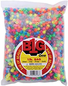 One Bag of 1 Pound Darice Pony Beads 9mm: Neon Multi