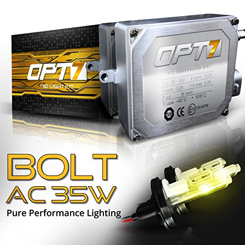 OPT7 Bolt AC HID Kit 4x Brighter - 6x Longer Life - All Colors and Sizes Simple DIY Install - 2 Yr Warranty - Bulbs and Ballasts [H4 9003 Hi-Lo - 3K Fog Yellow Xenon Light] (Oem 2010 Honda Crv Antifog Lights compare prices)