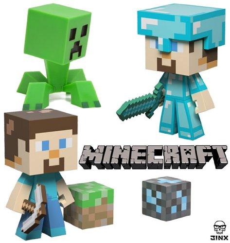 Mojang minecraft 6 vinyl toy set of 3 steve diamond steve and creeper by mojang at the - Minecraft creeper and steve ...