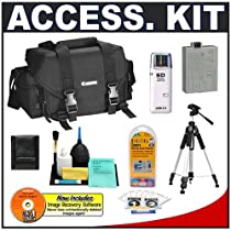 Canon 2400 Digital SLR Gadget Bag + Tripod + Spare LP-E5 Battery + Cameta Bonus Accessory Kit for Canon EOS Digital Rebel XS XSi SLR Camera