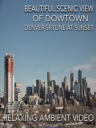 Beautiful scenic view of downtown Denver skyline at Sunset relaxing ambient video