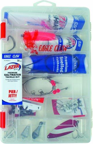 Lazer Sharp Pier/Jetty Saltwater Tackle Kit, 30 pieces, plus reusable plastic fishing box