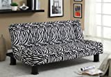 Furniture of America Karlene Zebra Print Futon, Black and White Finish
