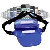 Blue Waterproof Waist Bag For Phones Including Samsung Galaxy S5 (Samsung SM-G800F) / SV, Galaxy S4 / S IV (i9500), Samsung Galaxy S4 Mini (GT-I9195), Galaxy S III (i9300), Galaxy S II, Samsung E1200 & Galaxy Note, By DURAGADGET