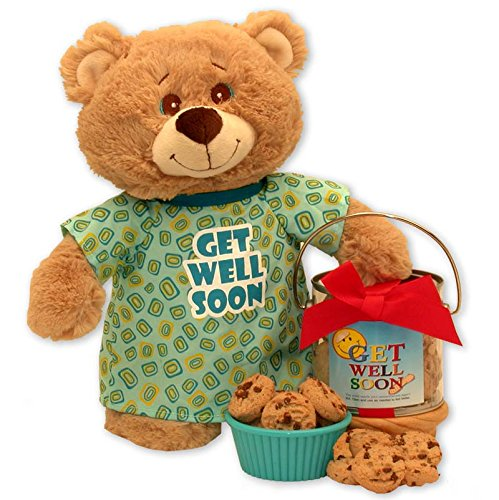Get Well Teddy Bear Delivers Cookie Tin (Teddy Bear Basket compare prices)