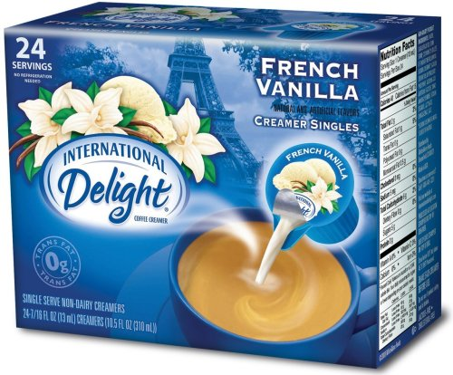 International Delight French Vanilla Non-Dairy Creamer, 24-Count Single Servings (Pack of 6)