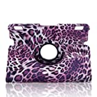 Generic Stylish 360 Degree Rotating Stand Ultra Slim Slim-Fit Lightweight PU Leather Smart Case Cover with Auto Sleep / Wake Feature Corner Protection & Multi-Angle Viewing for Kindle Fire HDX 7 Tablet 7 HDX Display, Wi-Fi, Optional 4G LTE Wireless, 16GB, 32GB, or 64GB 2013 Release - Leopard Purple + Free Gift ONE Stylus Pen