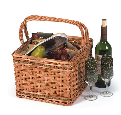 Insulated Hand Woven Willow Wine Picnic Basket/Cooler with Foldable Handles