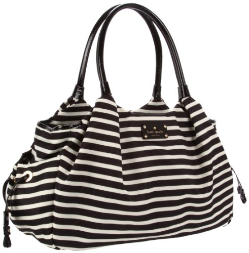 Kate Spade New York Kate Spade Nylon Stevie Baby Bag Diaper Bag,Black/Cream,One Size front-405687