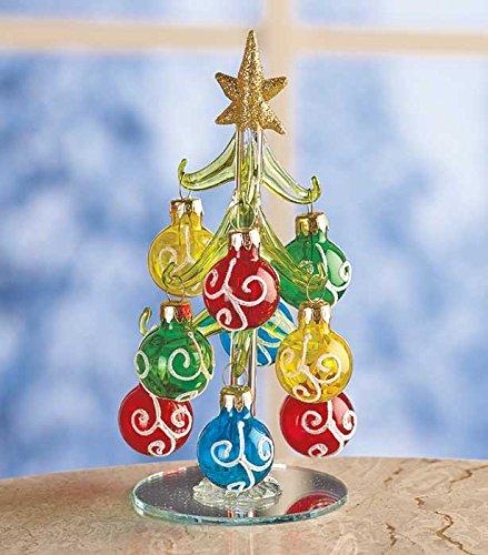 Silver Glass Christmas Tree and Nine Ornaments 6-1/4 X 3-1/4 Diameter