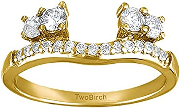 14k Gold Contour Three Stone Ring Wrap with Charles Colvard Created Moissanite 042 ct twt