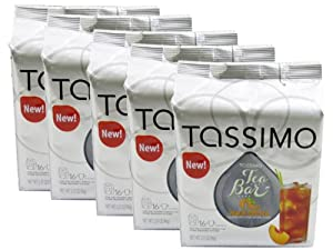 Tassimo T-Discs: Tea Bar Peach Iced Tea T-Disc Pods (Case of 5 packages; 80 T-Discs Total)