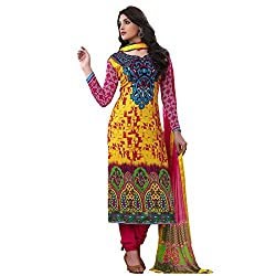 Rozdeal Women Georgette Salwar Suit Dress Material (Rda104-2001 _Yellow _Free Size)