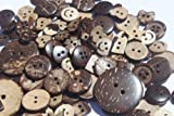 Mixed Pack of 50g COCONUT Shell Round, Square, Heart, Star, Flower Buttons. Size 11mm-30mm All supplied in a organza bag perfect little present for any crafter