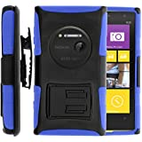 Nokia Lumia 1020 Case, Nokia Lumia 1020 Holster, Two Layer Hybrid Armor Hard Cover with Built in Kickstand for Nokia Lumia 1020 (AT&T) from MINITURTLE | Includes Screen Protector - Black / Blue