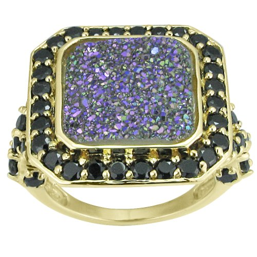 18k Gold Plated Sterling Silver Blue Drusy-Quartz and Black Spinel Ring, Size 6
