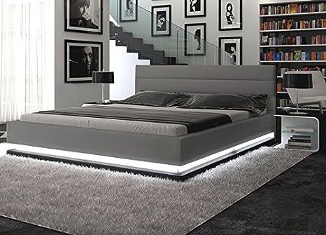 Polster-Bett 180x200 cm grau aus Kunstleder mit LED-Beleuchtung am Fuß des Bettes | Inapir | Das Kunst-Leder-Bett ist ein edles Designer-Bett | Doppel-Bett 180 cm x 200 cm in Leder-Optik, Made in EU